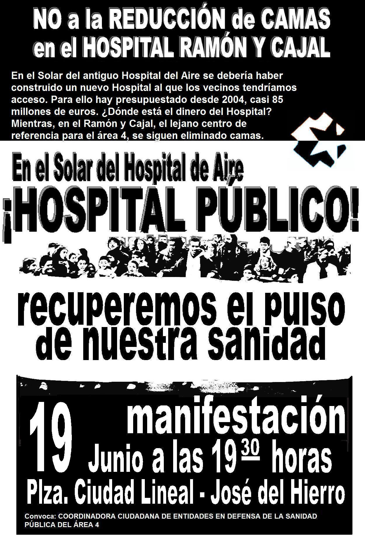 19 de Junio, jueves, a las 19,30h: Manifestacin por los terrenos del Hospital del Aire. Unidad ciudadana.