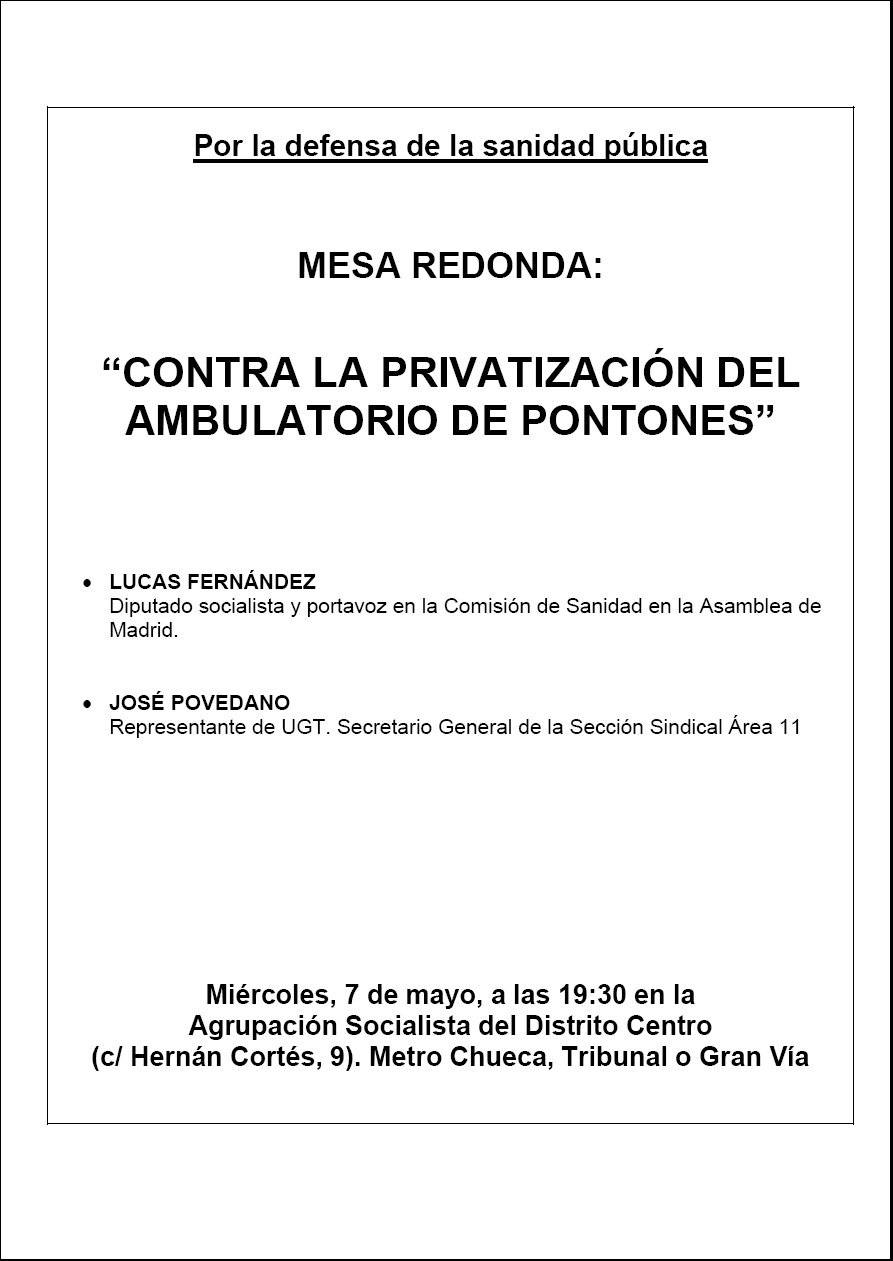 Privatizacin en CEP Pontones. Mesa redonda.